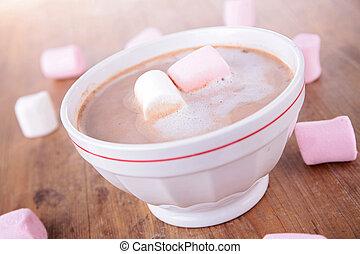 guimauves, chocolat chaud