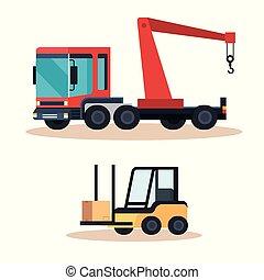 guindaste, caminhão forklift, veículo