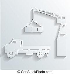 guindaste carga, vetorial, caminhão, cima