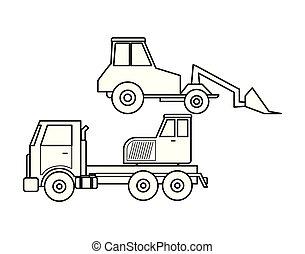 guindaste, construção, caminhão, escavador, sob