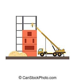 guindaste, construção, caminhão