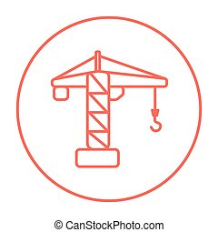 guindaste, construção, linha, icon.
