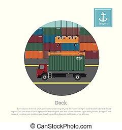 guindaste, container., caminhão, descarregando