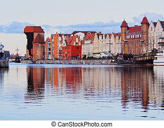 guindaste, polônia, antigas, gdansk, porto