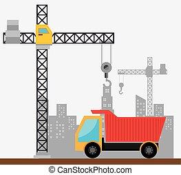 guindastes, construção, cena, local