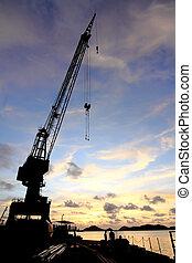guindastes,  dockside, pôr do sol