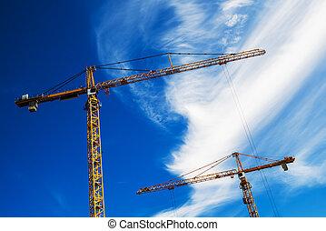 guindastes industriais, trabalhar, local construção