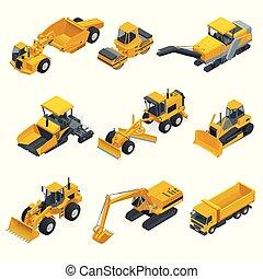 guindastes, isometric, jogo, forklifts, grande, equipment., tratores, escavadoras, construção, trucks., escavadores