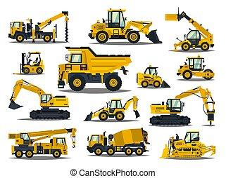 guindastes, jogo, especiais, work., forklifts, grande, equipment., tratores, vehicles., escavadoras, construção, comercial, estrada, trucks., repair., escavadores, máquinas