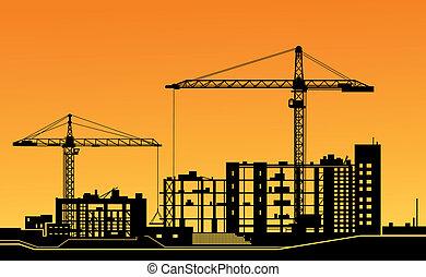 guindastes, local construção, trabalhando