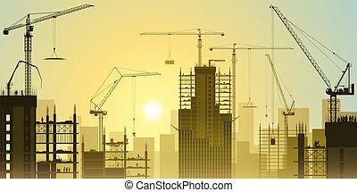 guindastes, torre, construção, local