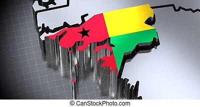 Guinea Bissau - borders and flag - 3D illustration