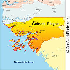 Guinea-Bissau country - Abstract vector color map of...