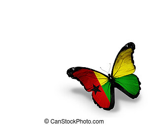 Guinea-Bissau flag butterfly, isolated on white background