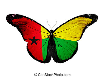 Guinea Bissau flag butterfly, isolated on white background