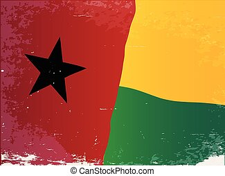 Guinea Bissau Flag Grunge - The flag of the African country...