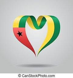 Guinea-Bissau flag heart-shaped ribbon. Vector illustration....