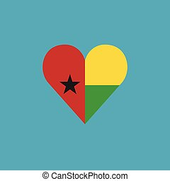 Guinea-Bissau flag icon in a heart shape in flat design