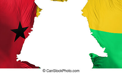 Guinea Bissau flag ripped apart, white background, 3d ...