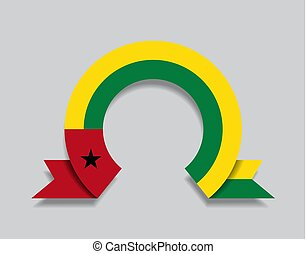 Guinea-Bissau flag rounded abstract background. Vector ...