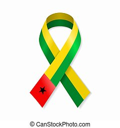 Guinea-Bissau flag stripe ribbon on white background. Vector...