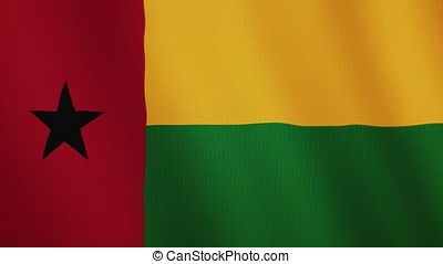 Guinea-Bissau flag waving animation. Full Screen. Symbol of the country.