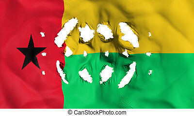 Guinea Bissau flag with a small holes, white background, 3d ...