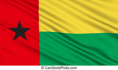 Guinea-Bissau Flag, with real structure of a fabric