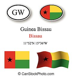 guinea bissau icons set against white background, abstract...