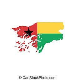 Guinea-Bissau map and flag on the white background. Vector...