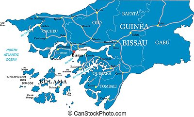 Guinea Bissau map - Highly detailed vector map of Guinea...