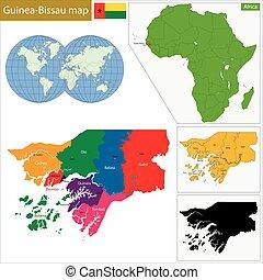 Guinea-Bissau map - Administrative division of the Republic...
