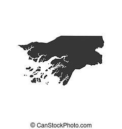 Guinea-Bissau map silhouette illustration on the white...