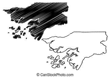 Guinea Bissau map vector illustration, scribble sketch...