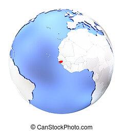 Guinea-Bissau on metallic globe isolated