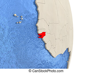 Map of guineabissau on globe with embossed continents 3d