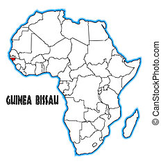 Guinea Bissau outline inset into a map of Africa over a ...