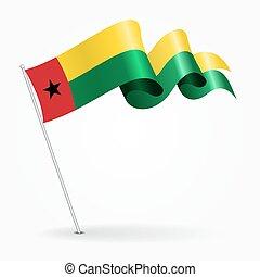 Guinea-Bissau pin wavy flag. Vector illustration. -...