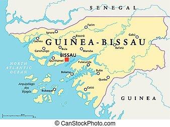 Guinea-Bissau Political Map with capital Bissau, national...