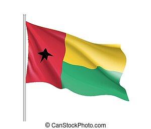 Guinea-Bissau realistic flag - Guinea-Bissau flag....