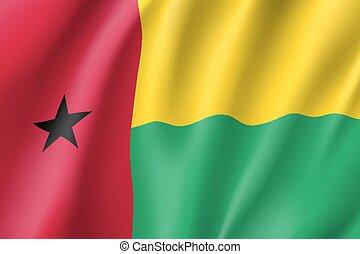 Guinea-Bissau realistic flag - Guinea-Bissau flag. National...