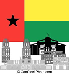 Guinea-Bissau - State flag and architecture of the country....