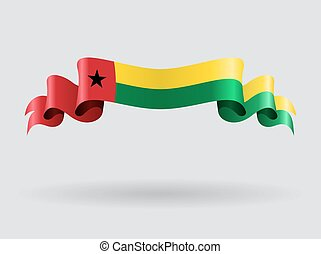 Guinea-Bissau wavy flag. Vector illustration. -...