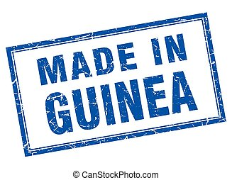 Guinea blue square grunge made in stamp