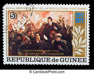 guinea, -, circa, 1977:, een, postzegel, bedrukt, in, guinea, optredens, 60, jaren, van, groot, oktober, revolutie, lenin, en, revolutionair, een, verzameling, circa, 1977