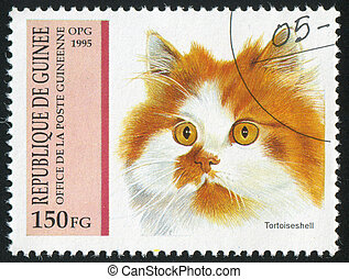 Tortoiseshell - GUINEA - CIRCA 1995: stamp printed by...
