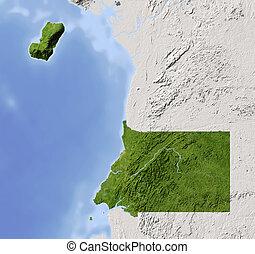 guinea equatoriale, ombreggiato, mappa sollievo