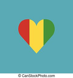 Guinea flag icon in a heart shape in flat design