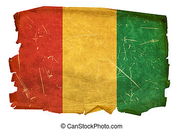Guinea Flag old, isolated on white background.