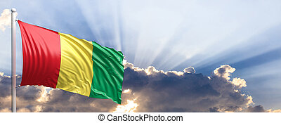 Guinea flag on blue sky. 3d illustration